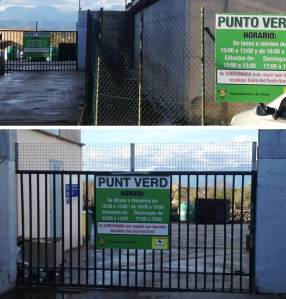 En la foto superior es veuen els dos cartells, un fora del recinte (en castellà) i un just a l'entrada (en català). En la foto inferior es veu el cartell en català, que queda amagat quan s'obre la porta (sis hores al dia).