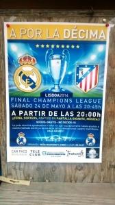 El cartell del partit entre l'Atlético de Madrid de Simeone i el Real Madrid de Cristiano, demà a Es Clot.