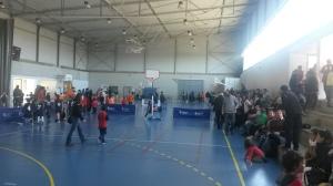 Imatge de la diada de bàsquet d'ahir, celebrada en el pavelló.