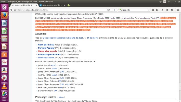 Captura de pantalla Wikipedia [Sineu] feta dia 23 d'octubre de 2015.