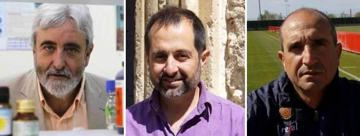 D'esquerra a dreta, Andreu Palou, catedràtic de bioquímica i especialista en nutrició, Pere Joan Jaume, futur director d'allotjament en les instal·lacions del CAR sineuer, i Jaume Bauçà, que serà professor de tàctica futbolística.