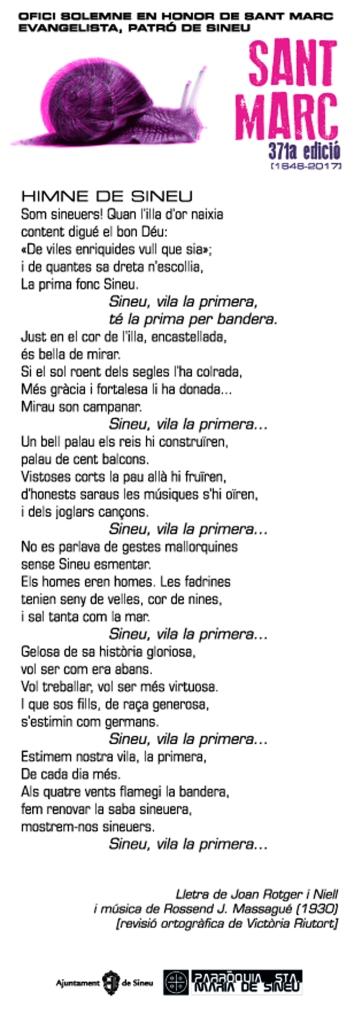 Lletra de l'himne de Sineu al fulletó dissenyat per na Rosa Mascaró.