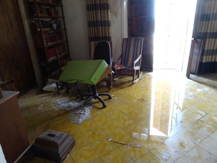 En aquestes fotografies es pot veure com quedà la rectoria després de l'aiguat.