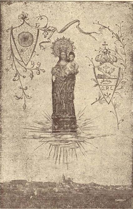 Estampa repartida l'any 1919, amb motiu de la peregrinació franciscana a Sineu. [reproduïda per J. Rotger, Anales de Sineu, 1919]