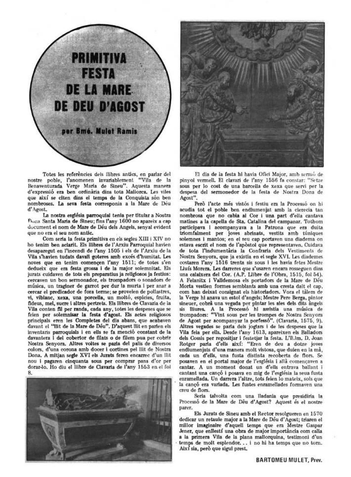 Extracte de la revista Teleclub Sineu, del mes d'agost de 1975.