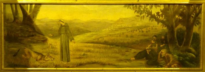 Pedrel·la representativa de l'episodi del llop de Gubbio, de l'església parroquial de Sineu.