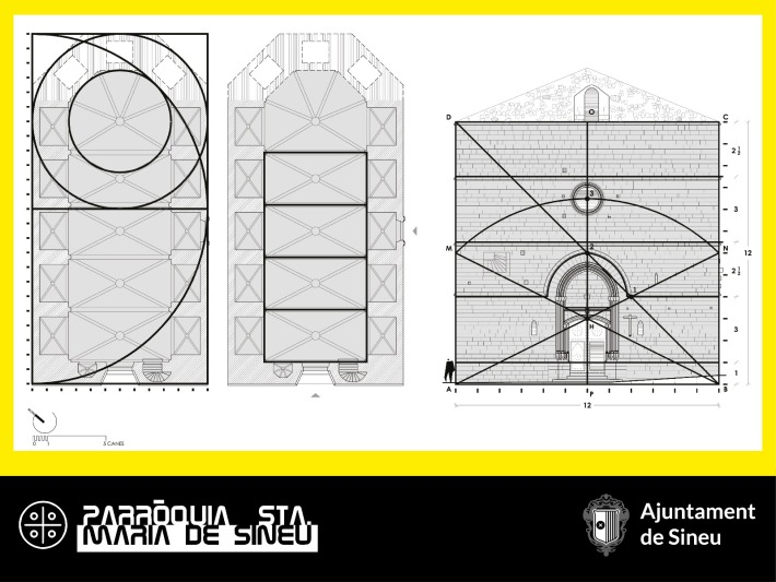 Esquemes geomètrics de l'alçat i planta de l'església elaborats per Joan Vanrell i Torelló.